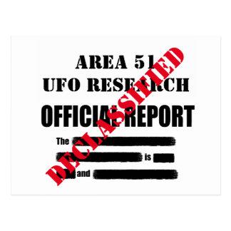 Carte Postale Rapport déclassé d'UFO