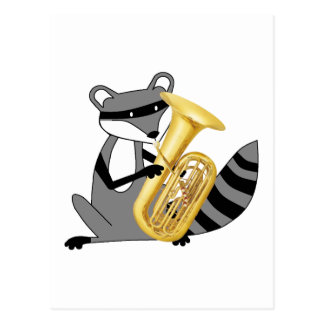 Carte Postale Raton laveur jouant le tuba