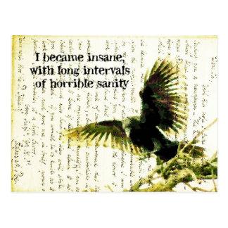 Carte Postale Raven avec la citation et le Handwritting de Poe
