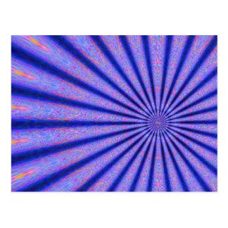 Carte Postale Rayons vibrants de l'art numérique de bleu de