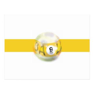 Carte Postale Rayure jaune de 9 boules