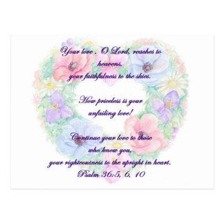 Carte Postale Reath de psaume et de fleur