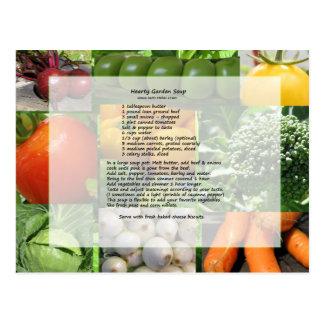 Carte Postale Recette chaleureuse de soupe à jardin