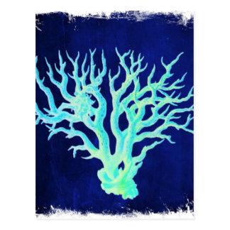 Carte Postale Récif coralien bleu pour la plage chic côtier