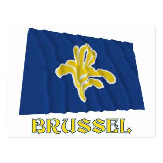 Carte Postale Région de drapeau de ondulation de Bruxelles avec