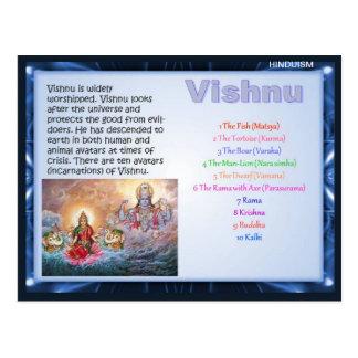 Carte Postale Religion, dieux indous, Vishnu
