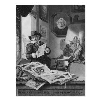 Carte Postale Rembrandt dans son studio