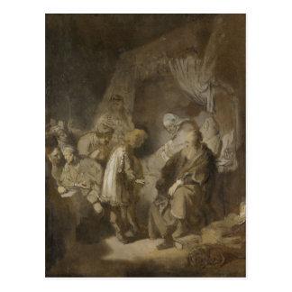 Carte Postale Rembrandt, Joseph disant ses rêves