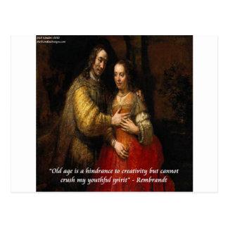"""Carte Postale Rembrandt """"la jeune mariée juive"""" et citation"""
