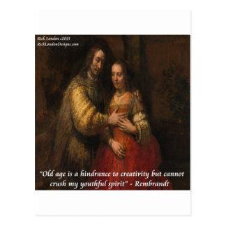"""Carte Postale Rembrandt """"la jeune mariée juive"""" et citation de"""