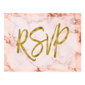 Carte Postale Réponse rose de faire-part de mariage du marbre
