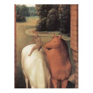 Carte Postale Représentation allégorique de deux chevaux