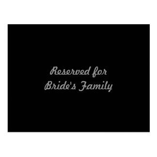 Carte Postale Réservé à la famille de la jeune mariée