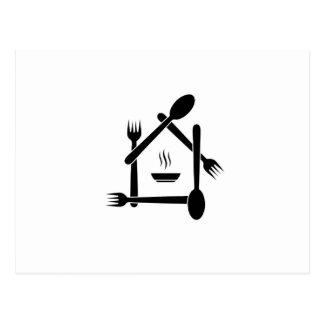 Carte Postale Restaurant conçu avec des fourchettes et des