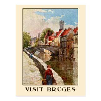 Carte Postale Rétro annonce vintage de voyage de Bruges de style