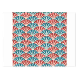 Carte Postale Rétro conception de turquoise de coquille rouge de
