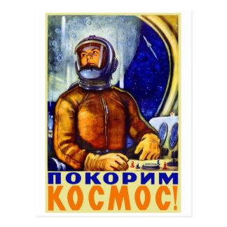 Carte Postale Rétro cosmonaute vintage de Soviétique de kitsch