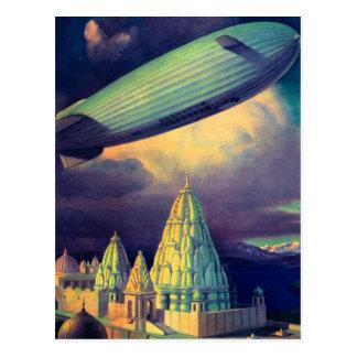 Carte Postale Rétro dirigeable souple vintage de Sci fi
