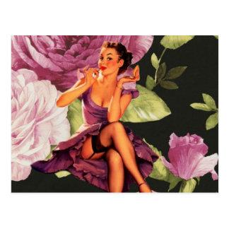 Carte Postale rétro goupille florale pourpre vintage vers le