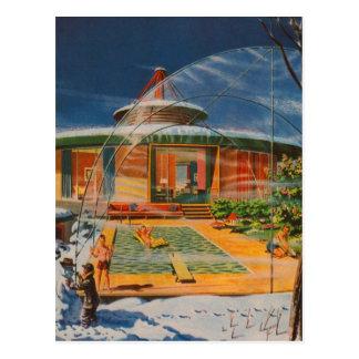 Carte Postale Rétro maison vintage d'avenir de Sci fi 60s de