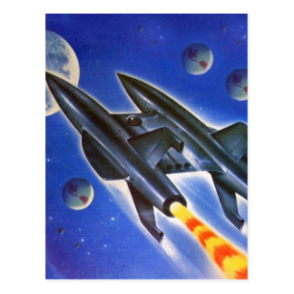 Carte Postale Rétro trois terres de Sci fi vaisseau spatial