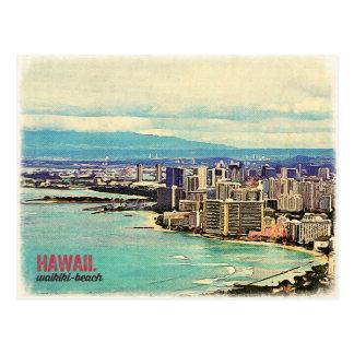 Carte Postale Rétro vieille plage de Waikiki d'île d'Hawaï Oahu