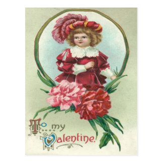 Carte Postale Rétros chrysanthèmes mignons vintages Valentine de