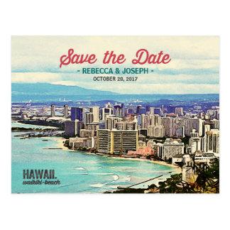 Carte Postale Rétros économies de photo de plage d'Hawaï Waikiki