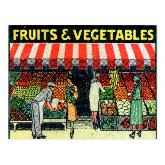 Carte Postale Rétros fruits vintages et légumes de pochette
