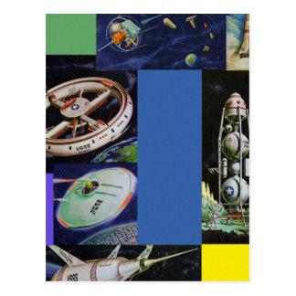 Carte Postale Rétros véhicules spatiaux vintages de Sci fi de