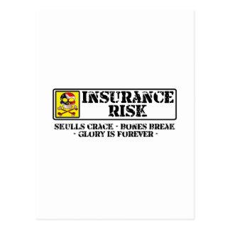 Carte Postale Risque d'assurance - fente de crânes - coupure
