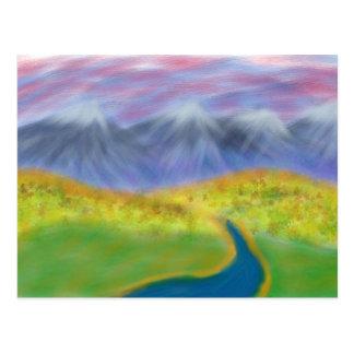 Carte Postale Rivière de ciel de collines de Digitals