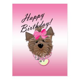 Carte postale rose de chien de joyeux anniversaire