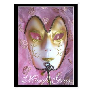 Carte postale rose de mardi gras