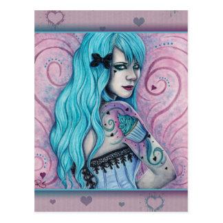 Carte postale rose de turquoise de tatouages de
