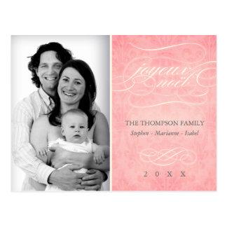 """Carte postale rose douce de photo de """"Joyeux Noël"""""""
