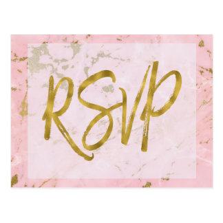 Carte Postale Rose et réponse de marbre de faire-part de mariage