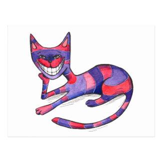 Carte postale rose pourpre drôle de chat