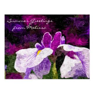 Carte Postale Rose violet pourpre de belle fleur Painterly