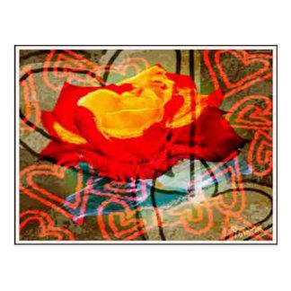 Carte Postale Roses et coeurs