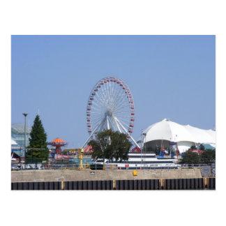 Carte Postale Roue de Ferris de pilier de marine