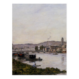 Carte Postale Rouen, vue au-dessus de la rivière la Seine par