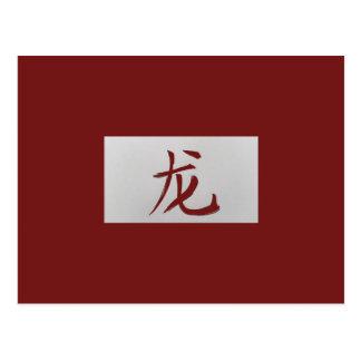 Carte Postale Rouge chinois de dragon de signe de zodiaque