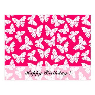 Carte postale rouge d'anniversaire de papillons