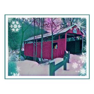 Carte postale rouge de pont couvert