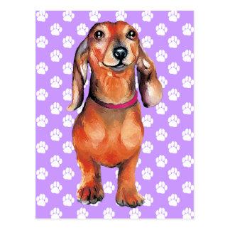 Carte Postale Rouge Doxie de basset allemand
