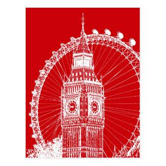 Carte postale rouge et blanche de Londres