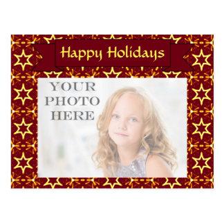 Carte Postale Rouge foncé et Noël ou Hanoukka de lueur d'étoile