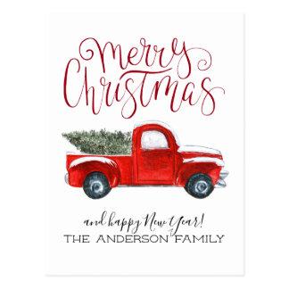 Carte postale rouge vintage de Noël de camion