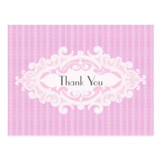 Carte Postale Rouleaux roses et Merci de rubans